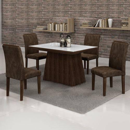 Conjunto Sala de Jantar Mesa Tampo Vidro Branco 4 Cadeiras Sevilha 120cm Cel Móveis Malbec/ Suede