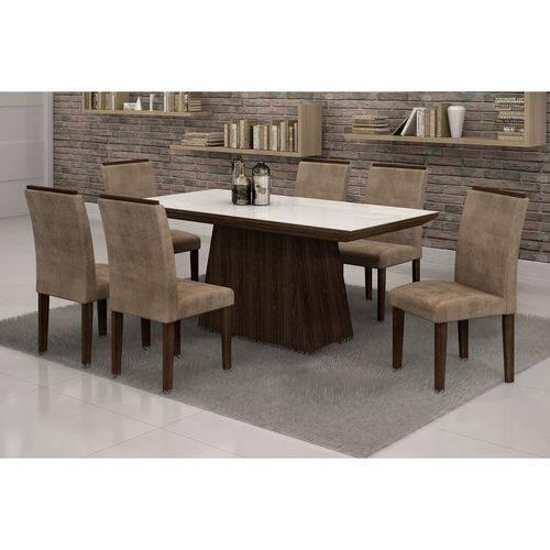Conjunto Sala de Jantar Mesa Tampo Vidro Branco 6 Cadeiras Sevilha 170cm Cel Móveis Malbec/ Suede