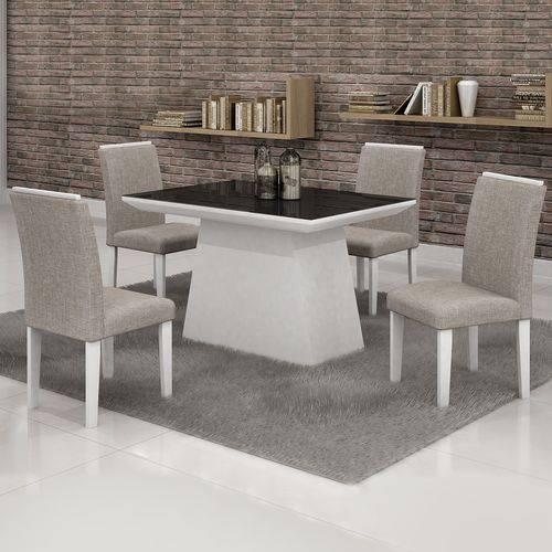 Conjunto Sala de Jantar Mesa Tampo Vidro Preto 4 Cadeiras Sevilha Cel Móveis Branco/ Linho 80
