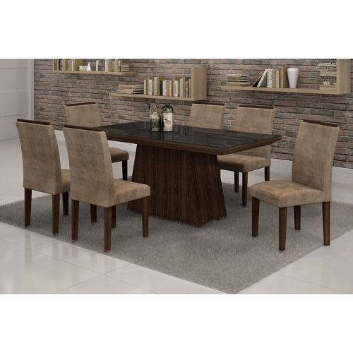 Conjunto Sala de Jantar Mesa Tampo Vidro Preto 6 Cadeiras Sevilha Cel Móveis Malbec/ Suede Animale