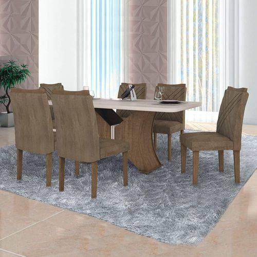 Conjunto Sala de Jantar Mesa Vidro Branco 6 Cadeiras Munique Leifer Ypê/Offwhite/Animale