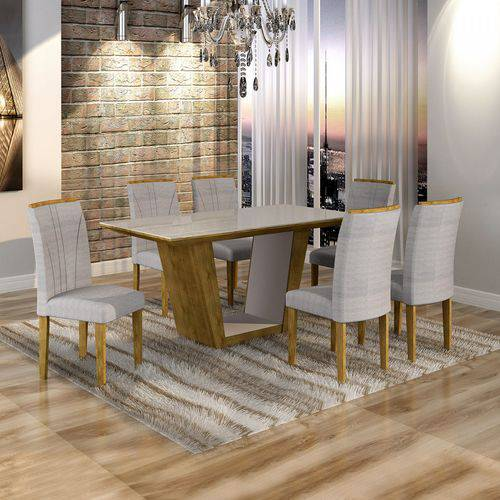 Conjunto Sala de Jantar Mesa Viggor Tampo de Vidro 6 Cadeiras Belle Cel Móveis Ypê/Suede Cinza 90
