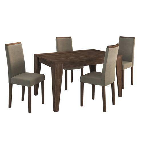 Conjunto Sala de Jantar Tecno Mobili Cj1000 4 Cadeiras Nogal 419