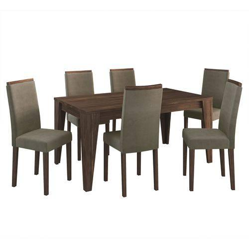 Conjunto Sala de Jantar Tecno Mobili Cj1001 6 Cadeiras Nogal 420