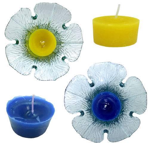 Conjunto 2 Vela Aromatizada Azul e Amarelo Base Formato Flor Vidro Decorativa