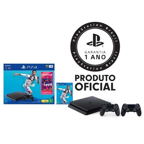 Console Playstation 4 Slim 1TB Bundle + FIFA 19 + 2 Controles Playstation Dualshock 4 Preto