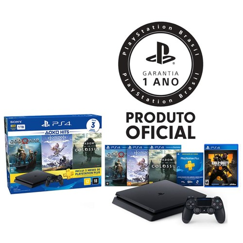 Console Playstation 4 Slim 1TB Hits Bundle + Controle Dualshock 4 Preto + 4 Jogos - PS4