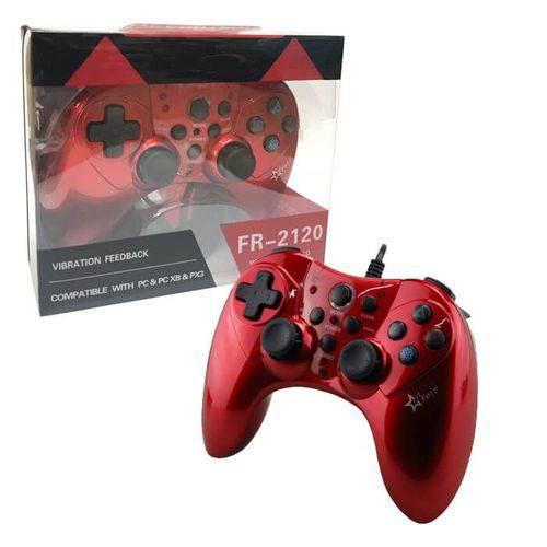Controle Joystick com Fio Usb para Raspberry, Playstation 3 Play 3 Ps3 e Pc Feir Fr-2120 Vermelho