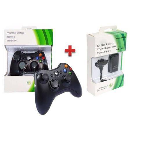 Controle Xbox 360 Sem Fio Wireless Usb Slim Joystick + Bateria