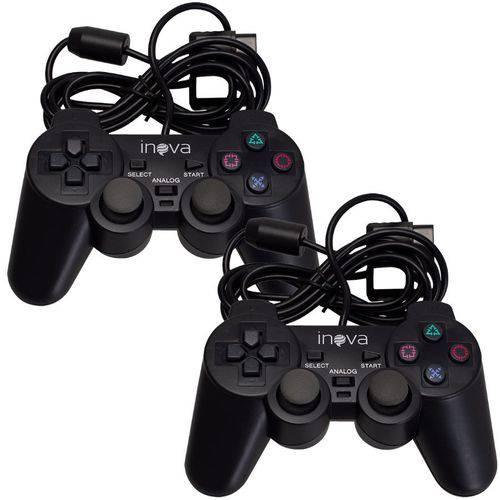 2 Controles Game para Ps1/ps2 Inova com Fio Con-408z