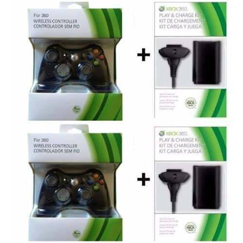 2 Controles Xbox 360 Sem Fio +2carregado+ 2bateria 20.000mah