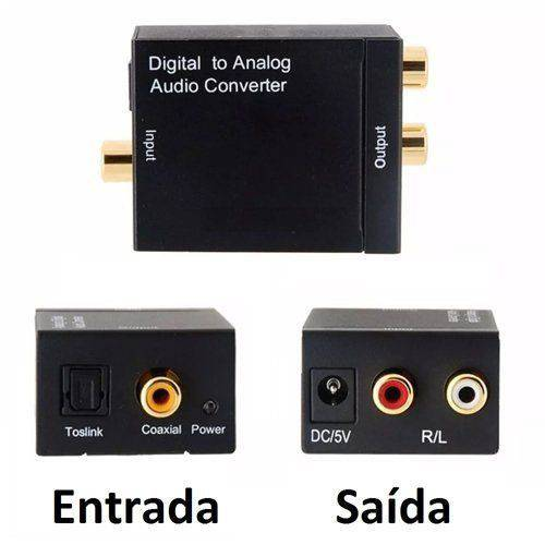 Conversor Audio Ótico e Coaxial Digital para RCA Analogico