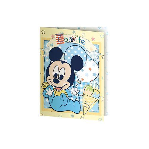 Convite Aniversário Baby Mickey e Amigos Pequeno 8 Unidades - Regina 1018823