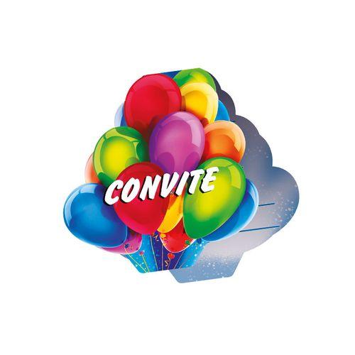 Convite Aniversário Foto Balões 8 Unidades - Regina 1018220