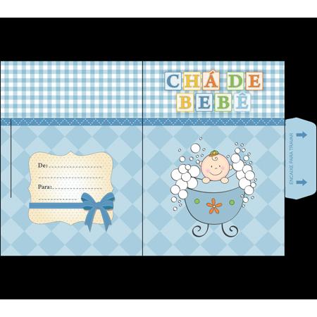 Convite Chá de Bebê Banheira Azul