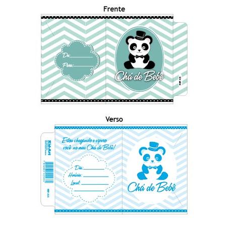 Convite Chá de Bebê Panda Azul