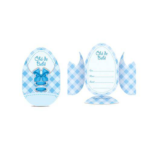 Convite Chá de Bebê Sapatinho Azul C/8