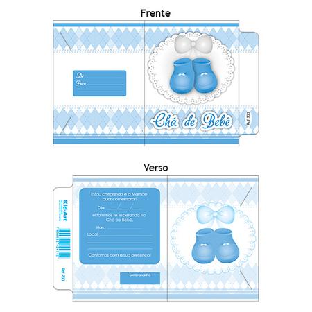 Convite Chá de Bebê Sapatinho Azul