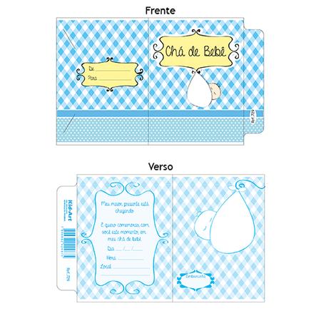 Convite Chá de Bebê Xadrez Azul