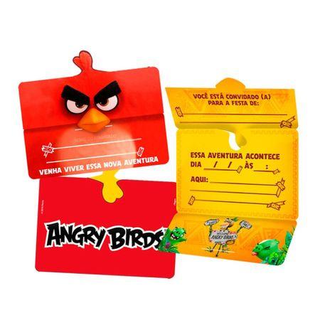 Convite de Aniversário Angry Birds - 08 Unidades