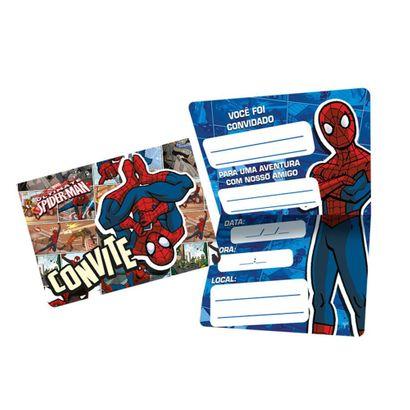 Convite de Aniversário Homem Aranha Quadrinhos 8un