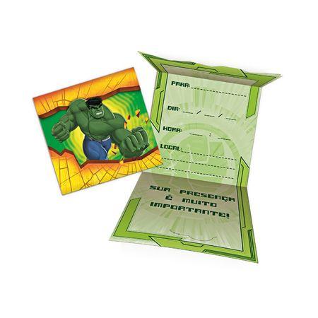 Convite de Aniversário Hulk - 08 Unidades