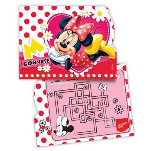 Convite de Aniversário Minnie Mouse C/ 8 Unid.