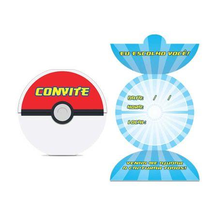 Convite de Aniversário Pokemon - 08 Unidades