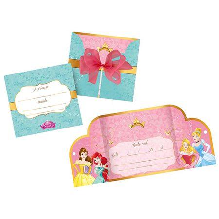 Convite de Aniversário Princesas Amigas - 08 Unidades