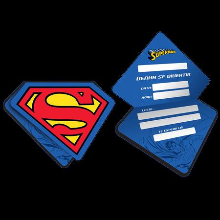 Convite de Aniversário Super Homem - 08 Unidades