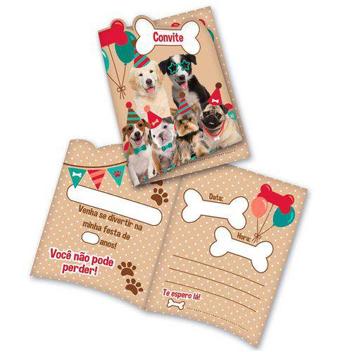 Convite Dogs C/8 Unidades