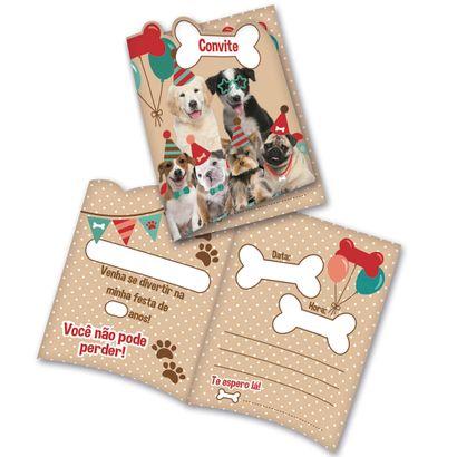 Convite Dogs com 8 Un. Festcolor
