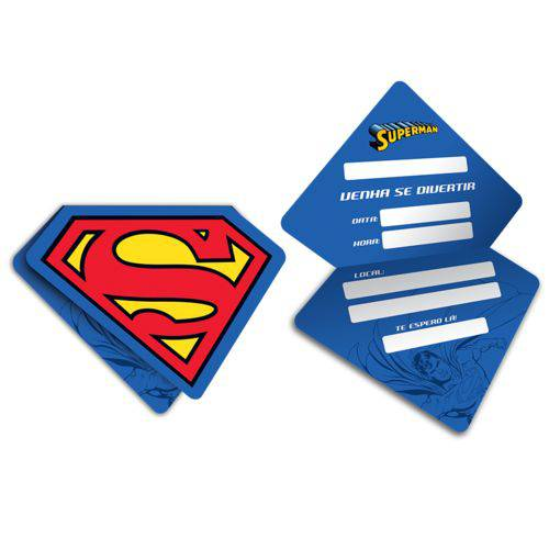 Convite Festa Aniversário Superman C/8