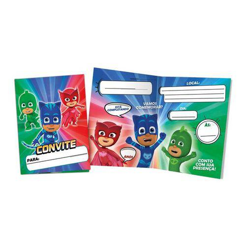 Convite Pequeno PJ Masks 8 Unidades