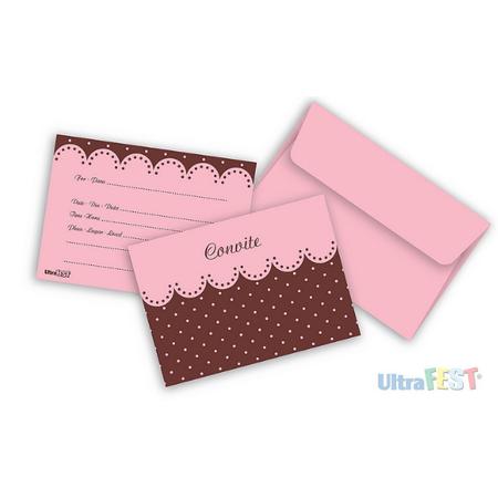 Convite Rosa Poá Marrom C/ Envelope - 8 Unidades