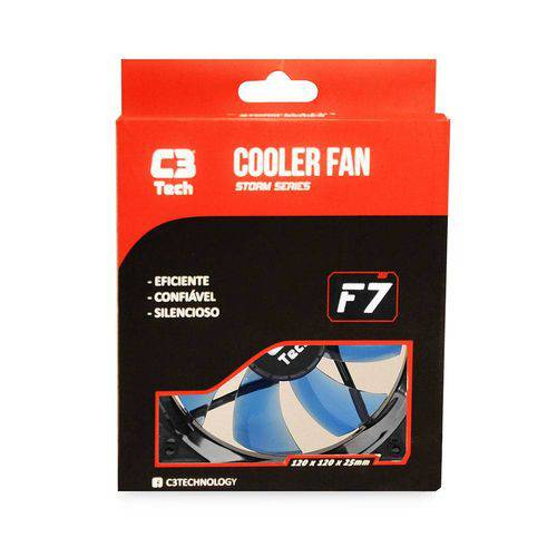 Cooler para Gabinete C3 Tech F7-100 Bl Storm 3 Pinos 12x12x2,5 Cm Led Azul