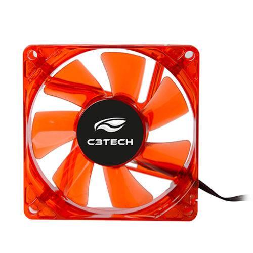 Cooler para Gabinete C3tech F7-L50rd 80 X 80 X 25 Mm Led Vermelho