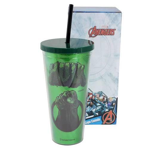 Copo Canudo 650ml com Efeito Metalico Hulk Zona Criativa