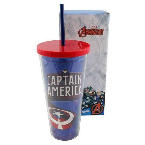 Copo Canudo 650ml com Marvel Metalico Capitão America