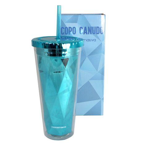 Copo Canudo Diamond Azul