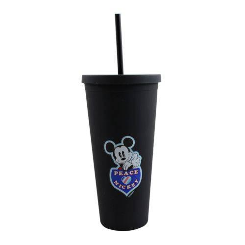 Copo Canudo Emborrachado Mickey Mouse 650ml