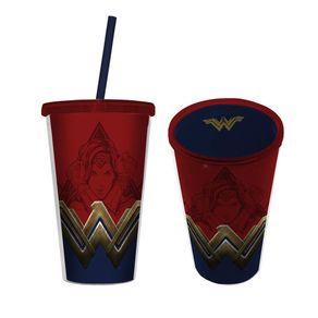Copo com Canudo Mulher Maravilha Logo DC Comics