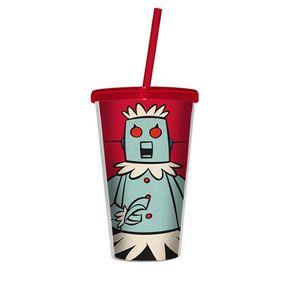 Copo com Canudo Robo Rose Jetsons