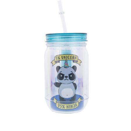 Copo com Canudo STZ Panda Ninja Holográfico Azul -