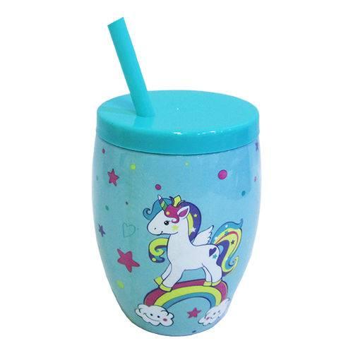 Copo com Tampa e Canudo de Plastico Unicornio Colors 650ml