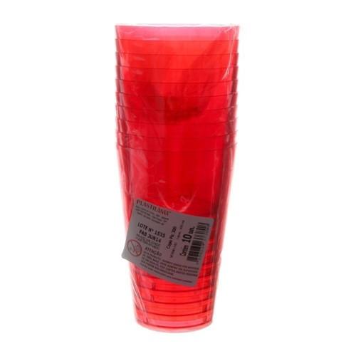 Copo de Acrílico Pic Vermelho de 300ml com 10 Unidades Plastilânia