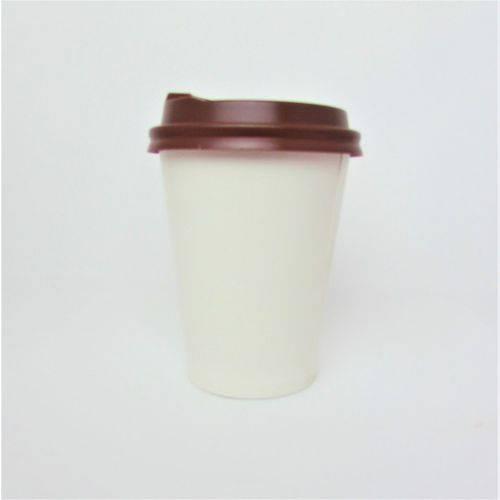 Copo de Papel Biodegradável Branco Liso 240 Ml Térmico com Tampa de Bico 200 Un