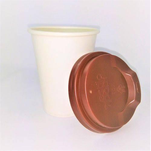 Copo de Papel Biodegradável Branco Liso Térmico 240 Ml com Tampa de Bico 300 Un