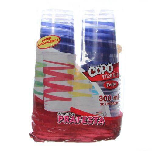 Copo de Plástico Descartável Mania Festa Azul 300ml Pacote com 30 Unidades Prafesta