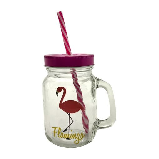 Copo de Vidro com Canudo 450ml Flamingo Urban